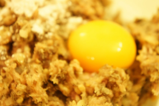 add an egg yolk to bind ingredients together and enhance texture
