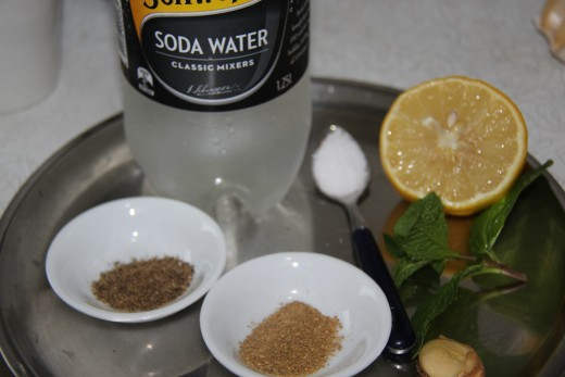 Some of the ingredients required for spicy soda drink