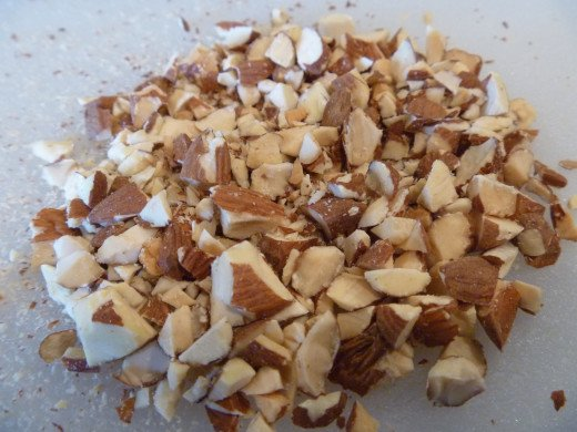 Almonds chopped into quarter inch pieces.