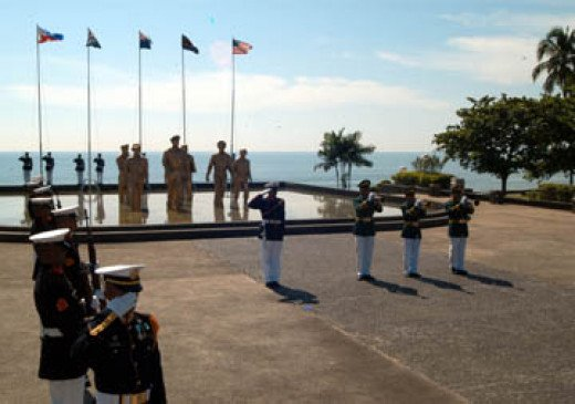 Wikipedia: Picture of a 60th anniversary ceremony of the Battle of Leyte Gulf. (U.S. Navy photo by Lt. Chuck Bell)