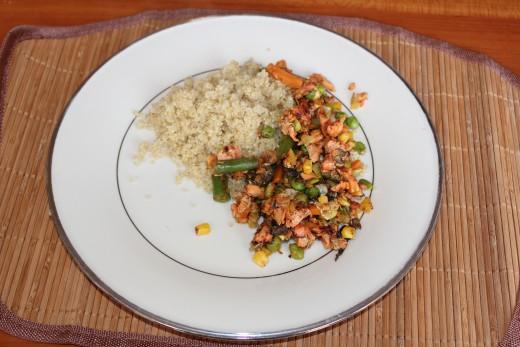 Salmon stir fry with quinoa . . . yum!