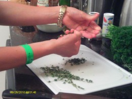 Remove the thyme from the stems