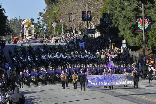 Western Carolina University's Pride of the Mountains marching band marches in the 122nd Pasadena Tournament of Roses Parade.