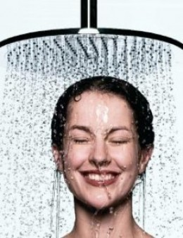 Looks like showering is the most fun she has all day.
