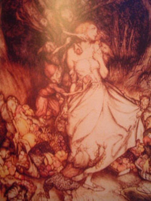 "Arthur Rackham, ""White and golden Lizzie stood,"" from ""Goblin Market,"" by Christina Rossetti (London: Harrap, 1933)."