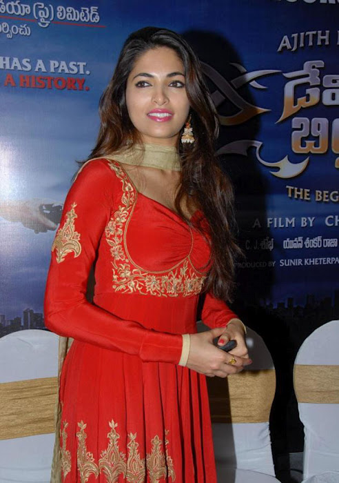 Parvathy-Omanakuttan, the mail female lead, during Audio release of David Billa (Telugu dubbed version of Billa 2)
