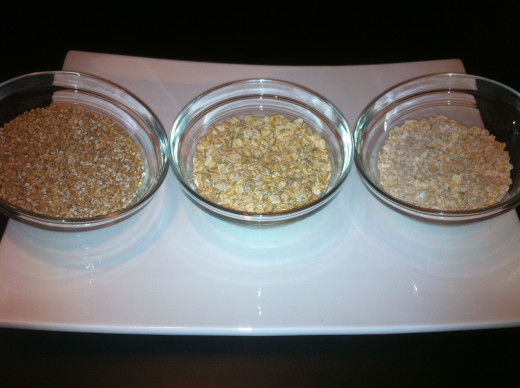The life of an oat.  From left to right:  steel-cut, rolled or old-fashioned, and quick oats.