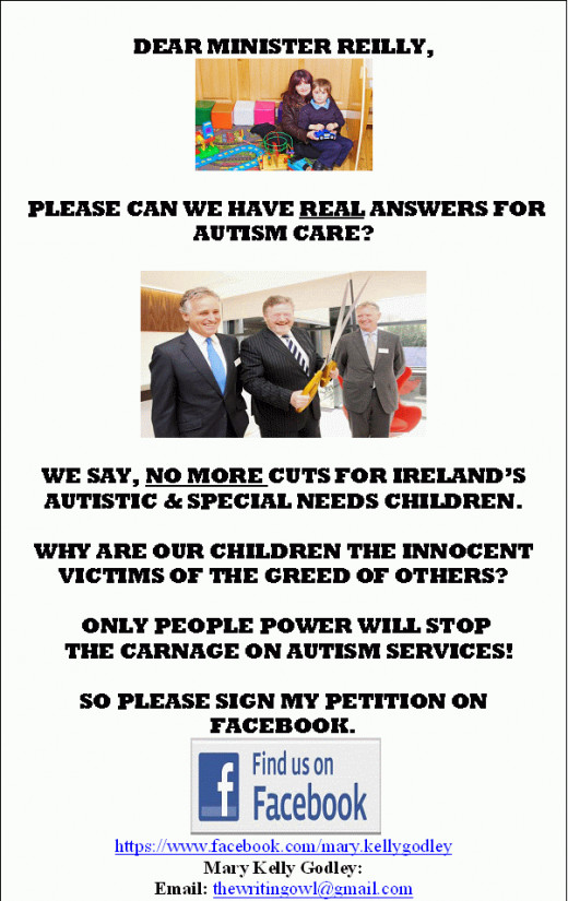 Flyer for my on-line petition for Ireland's Early Intervention services.
