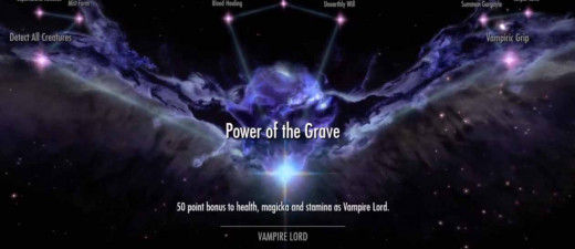 Skyrim Vampire Skill Tree Perks starts with Power of the Grave.