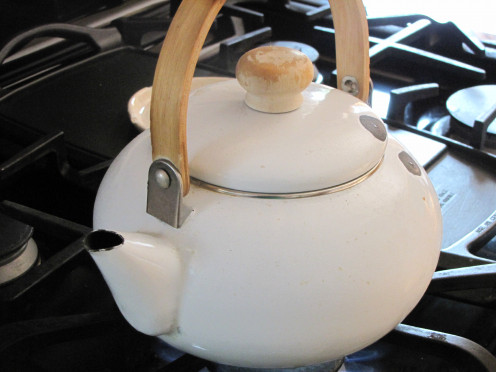 I boil water in a regular tea kettle.  You can use a pot also.  Or the microwave.
