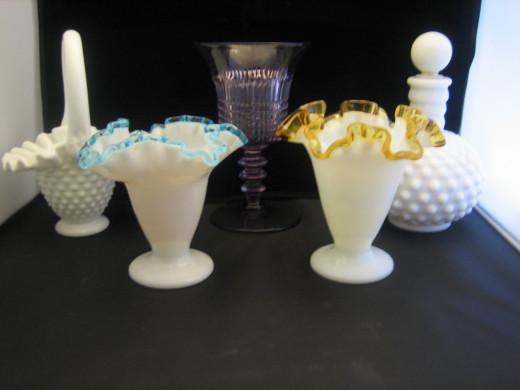 Hobnail basket with handle hanger's mark, Lincoln Inn goblet, Hobnail milk glass barber/perfume bottle.   Front - Tulip vases in aqua crest and gold crest.