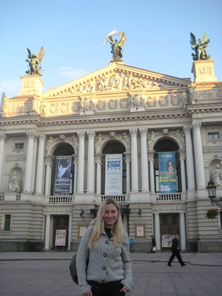 The article's author in front of the Lviv Theater of Opera and Ballet where she saw the Black Swan