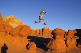 The photographer in this situation said this man did the jump several times in order to get just the right affect!