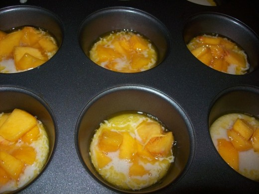 add peaches on top in the other pan, don't stir