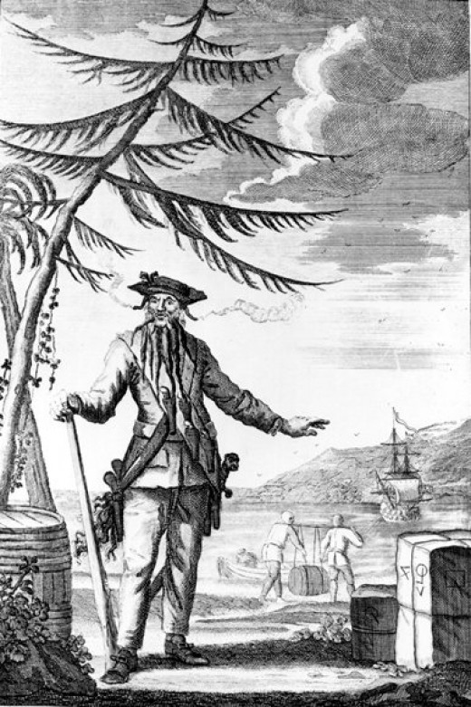 An engraved image of Blackbeard.