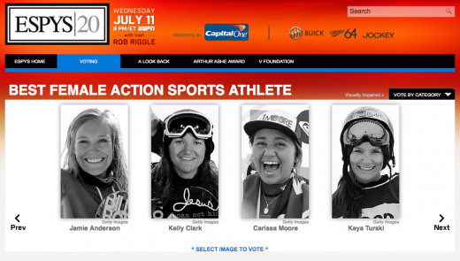 Nominees for Best Female Action Sports Athlete.