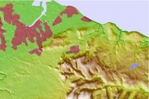 Topographic map of the north-eastern North Yorkshire Moors around Guisborough and northward to the Tees Basin (towns marked in lilac - Guisborough [centre] lies between the two lines of hills)
