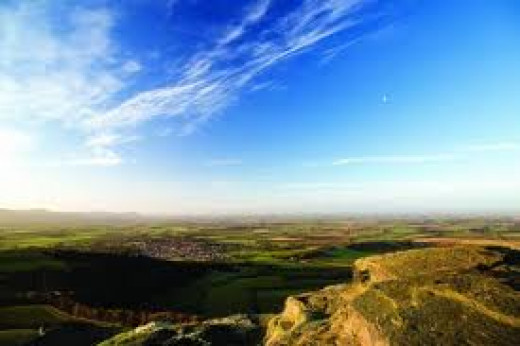 Looking westward from the summit of Roseberry Topping in the direction of Yarm-on-Tees and the Vale of Mowbray