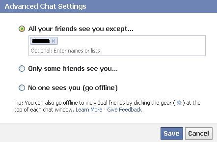 """Select """"All your friends see you except"""" and then enter the names of the friends you want to appear offline to."""
