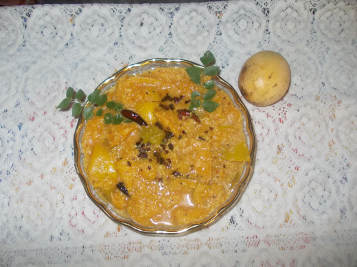 Ripe mango can be cooked with jaggery  to form  a sweet dish