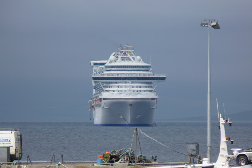 The front of the Caribbean Princess as seen from shore in Kirkwall, Scotland UK in 2012