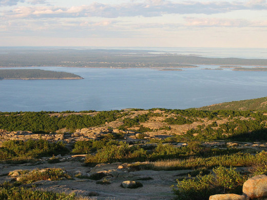 Many visitors to Acadia drive to the top of Cadillac mountain for this stunning view