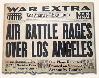 Original UFO over LA newspaper post in 1942