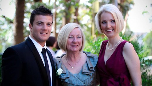 Jaunary 2012, fitness trainer Lee Hudswell took a break from tubing to jump from a rock. The 26 year old fell strait  to this death. Here he is pictured with his mother and sister.