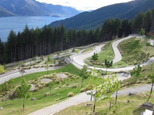 The downhill luge track at the Queenstown Skyline Gondola.