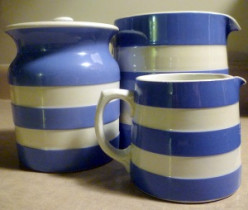 Dennis China Creamware - blue white cornishware