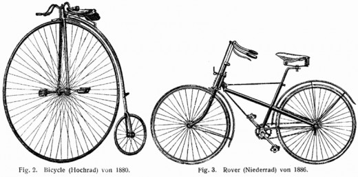 1904 Dictionary of Technology images:1880 bicycle on the left and an 1886 safety bicycle.