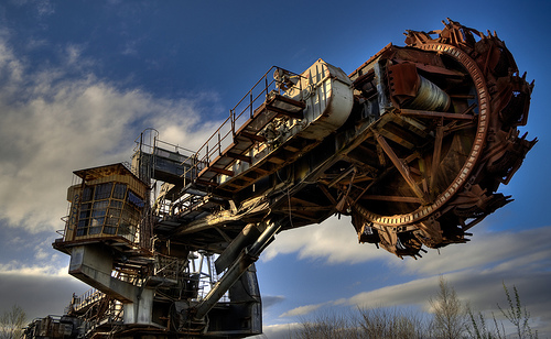 A large mining machine.