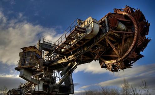 A large mining machine.