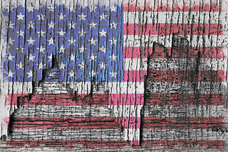 Old Glory . . . on wood.