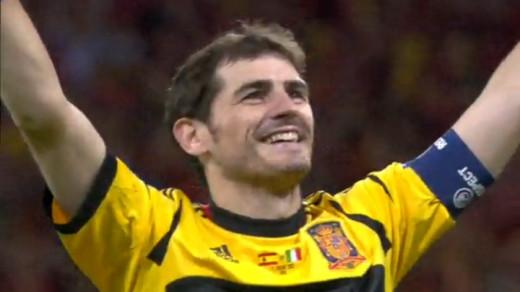 Iker Casillas celebrates as Spain win Euro 2012.