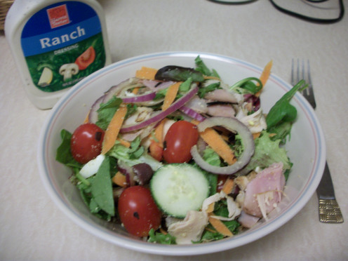 One Serving of Homemade Chef Salad