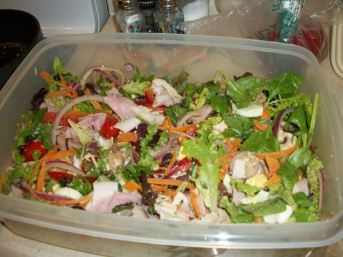 A big giant bowl of homemade Chef Salad, great for brown bagging or potlucks.