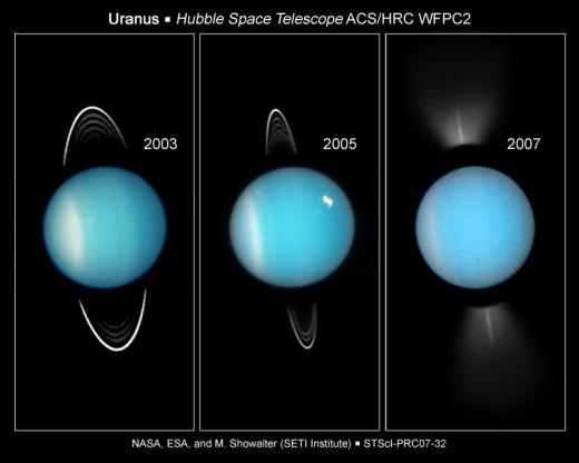 The Hubble Space Telescope managed to capture Uranus' faint rings from Earth. They actually cross the planet: Hubble had to block out Uranus' glare for a very long exposure to photograph the rings, then take a short-duration snapshot of the planet.