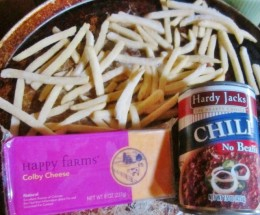 Frozen fries, canned chili, and cheese (Colby in this photo)