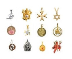 Religious Jewelry - Pendants with symbols like Om, Cross, Star of David, Swastik, Sri Yantra etc and pictures of Lord Ganesh, Goddess Laxmi, Durga, Hanuman, Buddha and Virgin Mary.