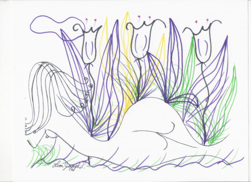 Title : Nude Woman In A Tulip Garden. Created on acid free paper, and done in special first class colored pens in 2005. Original retained by the artist. Art was created on standard sheet sized paper.