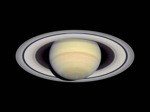 Saturn in all its glory seen from Hubble orbiting the Earth, 2004. Click link below to see full-sized image on NASA's website: