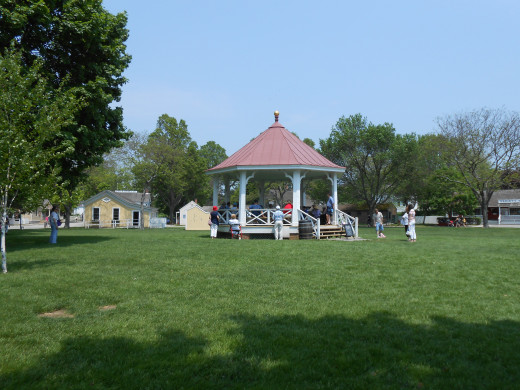 The village green, with a gazebo offers a convenient place for gatherings and demonstrations.