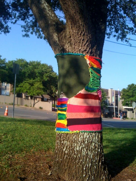 Old sweaters reused for yarn-bombing a tree.