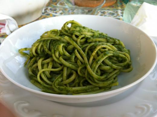 Italian Pasta al Pesto Sauce