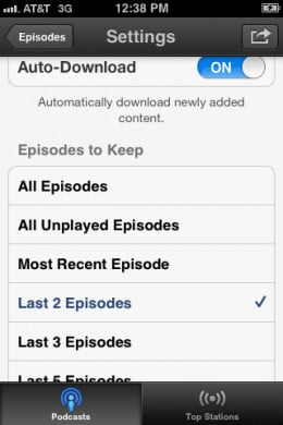 Tap how long you want to keep episodes for.