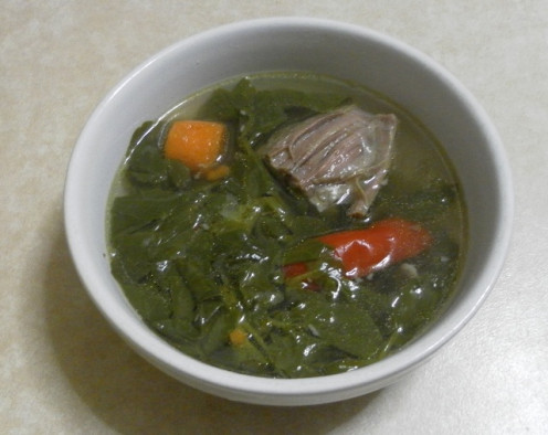 watercress soup with beef, carrots and capsicums