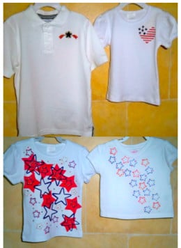Two sets of patriotic tee shirts designed for siblings.