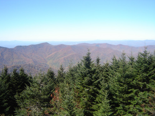 A view from the top of Mt. Mitchell, the highest peak of the Rocky Mountains. Mt. Mitchell is located just north of Montreat, NC.