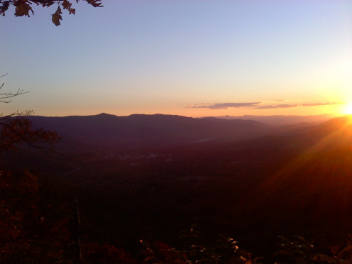"Sunset in Black Mountain, the larger community adjacent to the town of Montreat, and also the home of Montreat College's ""Black Mountain Campus."""